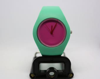 Custom watch, turquoise dial