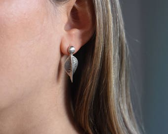 Handmade sterling silver, small dangling hammered leaf earrings