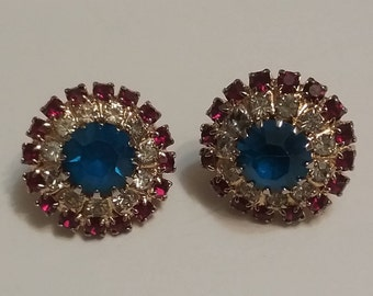 Red White and Blue Clip On Earrings