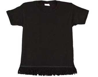 Toddler's Fringed Black Tshirt
