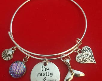 Silver I'm Really A Mermaid Themed Charm Bracelet