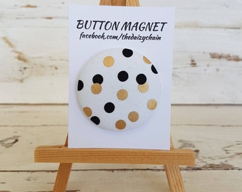 Large Fabric Button Magnet - Golden Feathers Collection - Fridge Magnets - Office Magnets