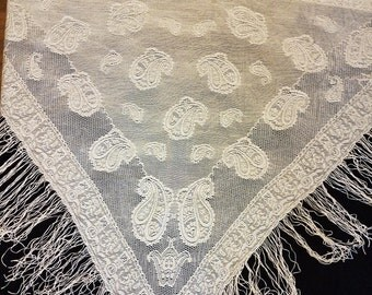Gorgeous Off White Vintage Shawl Lacy Wrap with Fringe