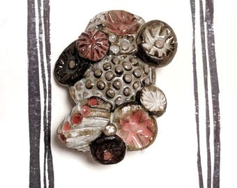 Dark Brown/pink/white Ceramic Brooch
