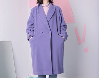 minimal wool coat size 38, midi double breasted coat, lavender periwinkle pastel blue coat, 90s vintage mid length coat
