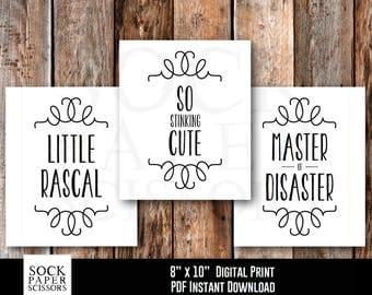Printable Nursery Art, 3 pack: Little Rascal, So Stinking Cute, Master of Disaster Printable Print, PDF Digital Download, Sku-RNA112