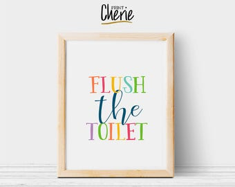 Flush the toilet printable, Toilet printable wall art, DIY kids bathroom decor, Flush the toilet print download