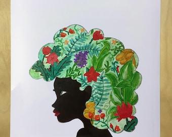 Afro Art Print   Black Woman   Natural Hair Art   Black Girl Magic   Black Art   Wall Art   Poster   Dorm Room Decor   African American Art