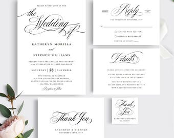 Printable Wedding Invitation Template. Calligraphy Wedding Invitation Set.  Printable Wedding Invitation Set, Classic
