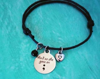And so She Goes on Semi Colon Bracelet