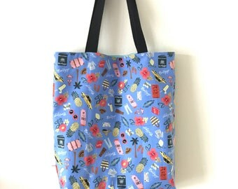 "Handmade tote bag, carry all bag for knitting project 14"" x 11.5"" x 3"" *Going on a holiday*"