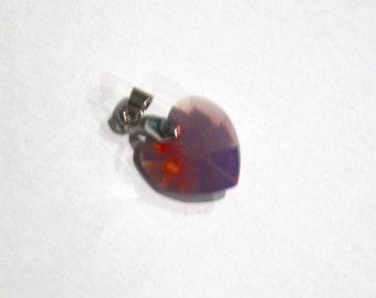 Medium Cyclamen Opal Swarovski Crystal Heart Pendant - Collar Add-on