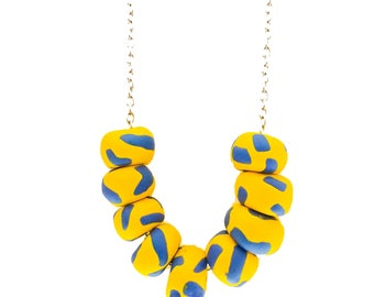 Polymer Clay Necklace // Vegan Beaded Jewellery // SUNSHINE Saffron Bright Yellow + Periwinkle Blue // Gifts Under 50 // Women's Gifts