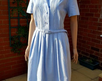 """SOLD Vintage 1950s Baby Blue Cotton Day Dress with Matching Belt VOLUP. 36"""" Waist."""