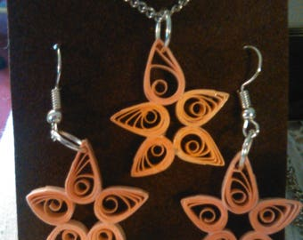 Hand Quilled Earrings with matching pendants and chains