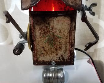 Robot Light, Night Light,  Robot Lamp, Steampunk