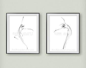 10L-22, minimalist sketch pencil drawing abstract nude figure illustration dance art print from original art by Ann Adams Set of 2