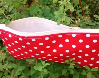 Red polka dot zipper pouch, cosmetic case, make up bag