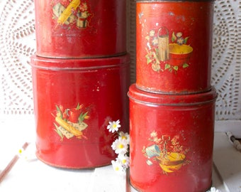 Vintage Red Kitchen Metal Cannister set with Original Decals - 1940's Kitch -