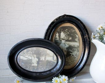 Vintage Metal Picture Frames - Oval - Old Childrens Pictures Photos - 1900s - Victorian Era