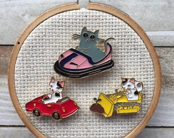 Cat Needle Minder - Cats in Cars - Cat Magnet for Cross Stitch - Funny Needle Minder