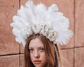 White Big and Bold Natural Feather Swarovski Crystal Native american Indian Headdress feather headband Burning man Festival Crown Headpiece