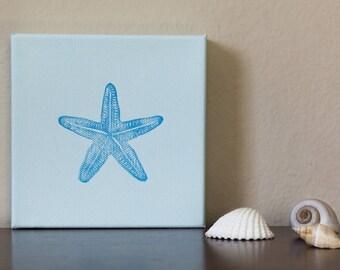 """Starfish Wall Art, Block Print Canvas, Coastal Decor, 6x6"""""""