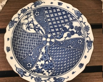 Blue and White China Bowl/Plate Made In Japan - Scalloped Edge