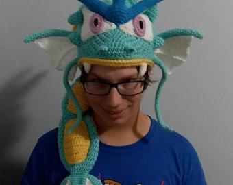 Pokemon Inspired Gyarados crocheted slouchy hat beanie