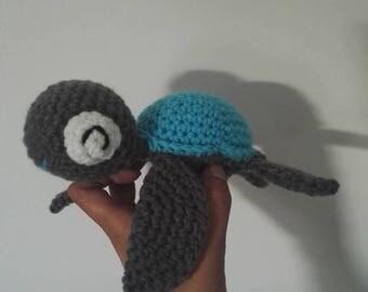 Little turtle crochet grey Turquoise