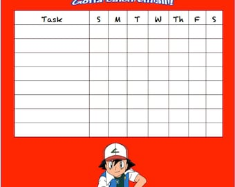 POKEMON Chore Chart Printable Instant Download
