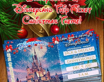 CHRISTMAS DISNEYWORLD TICKET,Disnewyworld Trip Announcement printable,Disneyworld Card,Disneyland ticket,Ticket to Disneyworld,Boarding Pass