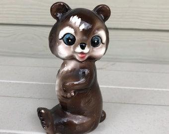 Little Brown Bear Signed Japan, Adorable Woodland Critter, Ceramic Bear, Kitschy Cute Decor, Japanese Bear Figure, Cute Little Bear, Unique