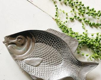 Fish shaped pewter decorative bowl