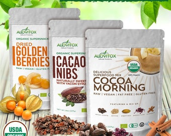 Health and Wellness,Bundle, Healthy Snacks, Cocoa, Cacao, Nibs, Berry, Dried Fruit, Gluten Free Vegan, Healthy Gift, Organic, Vegan Gift