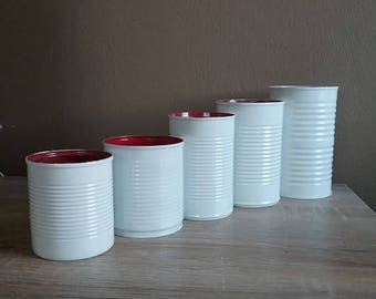 Wedding Centerpiece Decor, Tin Can, Rustic Shabby Chic Modern, Red and White painted