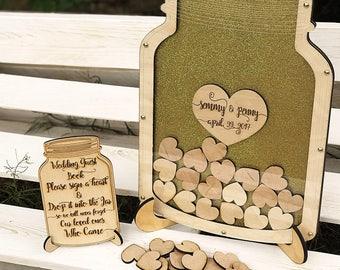 Wedding Guest Book, Wedding Guest Book Alternative, Mason Jar Guest Book, Drop Box, Wedding Mason Jar, Wedding, Dark Wood Border GuestBook