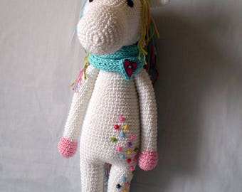 Large amigurumi unicorn Unicorn toy Crochet unicorn doll Unicorn amigurumi Unicorn stuffed animal  Free shipping