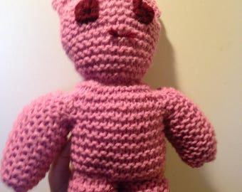 Pink Hand Knitted Bear