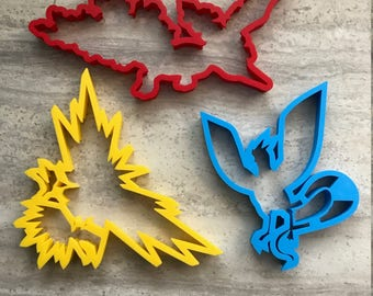 Legendary Birds Pokemon Cookie Cutters Set - Zapdos, Articuno, and Moltres