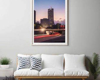 Allen Parkway light trail photography print. Houston, Texas. Cityscape photograph. Large vertical art print