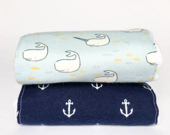 Flannel Cloth Diaper Burp Cloth - Whales and Anchors - Set of 2 - Baby Boy