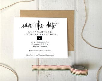 Colorado Heart Wedding Save The Date Printable Postcard Template / Instant Download / Destination Wedding State Icon Print At Home Card