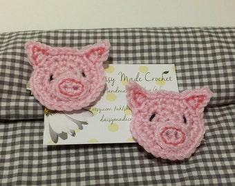 Pink Pig Hair Clip | Crochet Hair Accessory | Handmade | Baby Shower Gift | Farm Theme