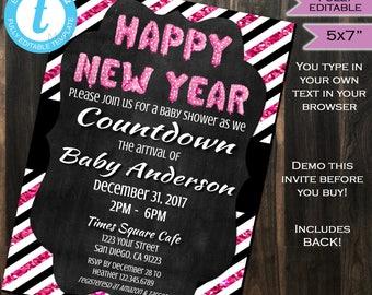 New Years Baby Shower Invitation New Year Baby Sprinkle Invite Pink Glitter Black White Template Custom Printable INSTANT Self EDITABLE 5x7