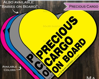 Precious Cargo on Board Babies on Board Baby Wording Heart - Car Magnet Car Safety Child Parking Lot Kids Car Safety - Magnet - Reapply