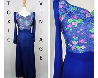 VINTAGE 1960s 1970s Blue Floral Glitter MAXI DRESS, Size Uk 10, Disco, Party, Retro, Glam, Chic, Elegant