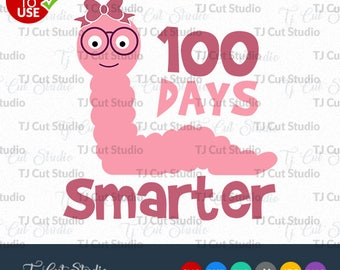 100 days smarter School svg, worm bookmarksvg, worm bookmark girls svg, Svg Files for Silhouette Cameo or Cricut, Commercial & Personal Use.