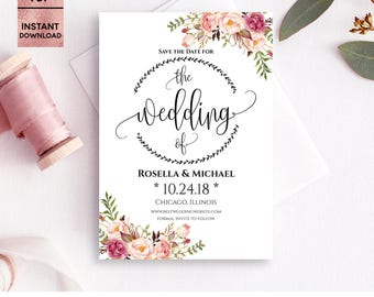 Floral Pink Save the Date Card Template, Printable 5x7 Save the Date with Script Font, DIY Template, Editable PDF File, Digital Download
