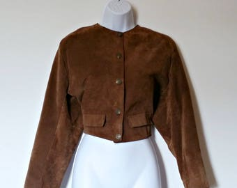 Vintage Leather Jacket 80s Genel London - Size M, Medium Med, Rust Brown, Cropped Crop Waist, Designer England English, Suede Warm Cozy